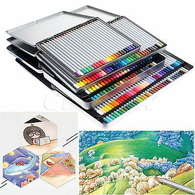School Home Artist Use 24/36/48/72 Colors Drawing Sketching Pencil Set Tin Box