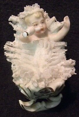 Rare BABY IN A CRIB WITH PACIFIER German PORCELAIN LACE FIGURINE