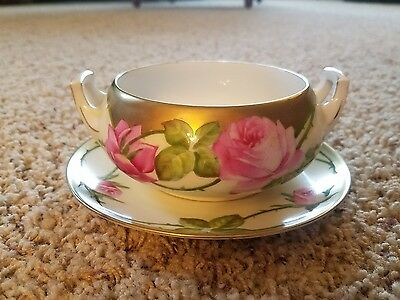 Antique Hand Painted Bavaria Bowl and plate , Beautiful Dish w/Roses