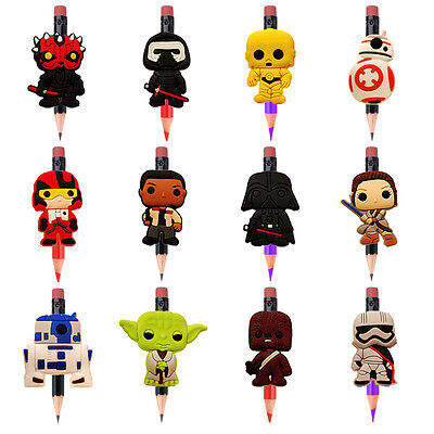 New 12Pcs Star Wars® Pencil Toppers Caps School Party Favours Gifts 2-3cm