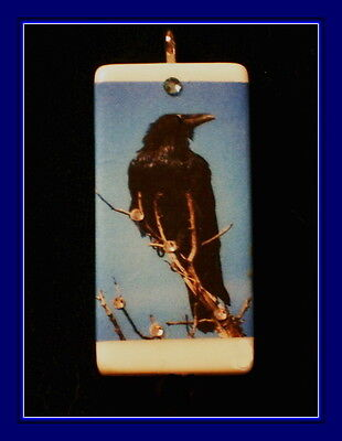 Crow In Winter On Icy Tree Branches - Domino Pendant - Vintage Postcard Design