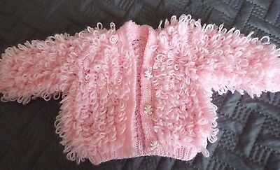 Beautiful Hand Knitted Pink Loopy Baby Cardigan Teddy Buttons 0-3 Months