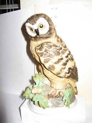 Porcelain Owl Figurine~Ceramic Realistic Woodland Brown Barn Statue Hoot