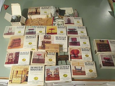 The House of Miniatures Dollhouse Colonial American Furniture X-Acto 18pc & tool