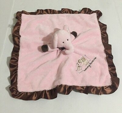 Carters Elephant Mommy Loves Me Rattle Pink/Brown Security Blanket Lovey Baby