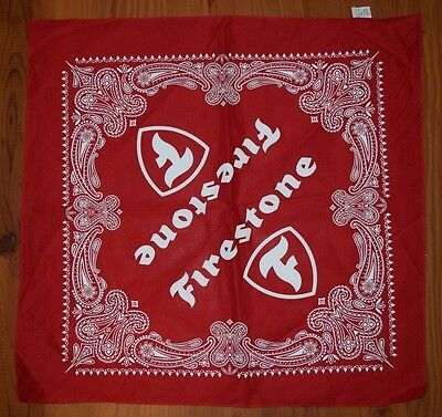 "FIRESTONE TIRE Collectible Red Bandana - NEVER USED!!  21"" square"