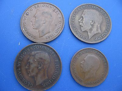 Lot of Four British Vintage Coins - 3  Pennys & 1 Half Penny