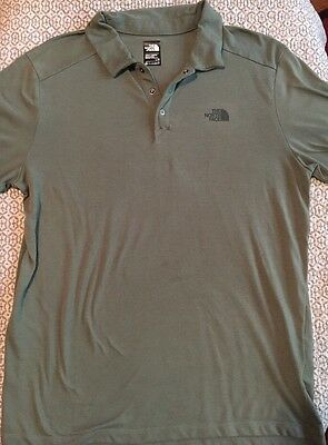 The North Face Mens Army Green Short Sleeve Polo Shirt Top Size L