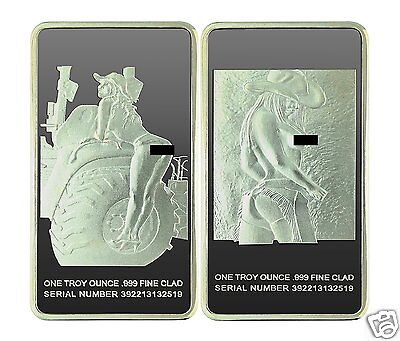 "Rare Farm Girl 1oz Silver PLATED Art Bar  -""With Picture""- Highly Collectible"