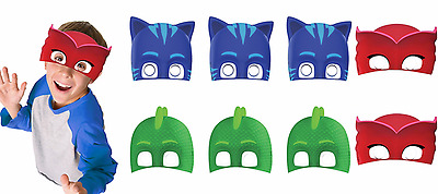 PJ Masks Paper Mask Favors Birthday Party Supplies Pajama Heroes Catboy Gekko ~8