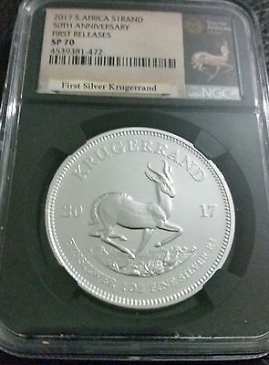 2017 South African 1 oz Silver Krugerrand with COA & Pouch First R NGC SP 70