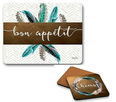 Set of 6 Blue Feather Bon Appetit Placemats and Cheers Coasters Cork Back
