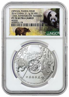 2016 China 1 oz. Proof Silver Panda Anaheim ANA Show NGC PF70 UC, with COA