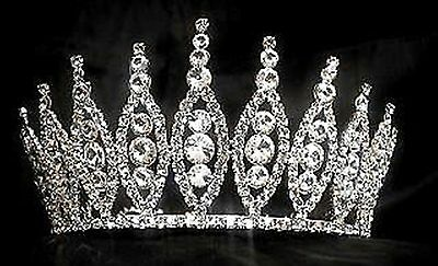 #824 Pageant Crown Sparkling Clear Rhinestone Crystals in Silver-tone metal