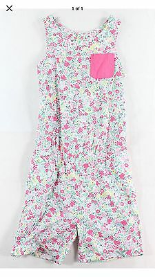 Joules NEW Pink White Girl's Size 11-12 Floral Printed Pocket Romper #624