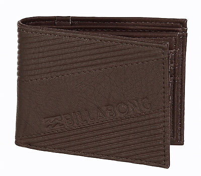 "Brand New + Tag Billabong Boys Mens Pvc Tri-Fold Wallet Surf ""slice"" Chocolate"