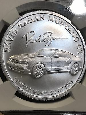 """""""David Ragan""""  Ford Mustang GT NGC Certified 1 oz .999 Silver Coin LIMITED MINT"""