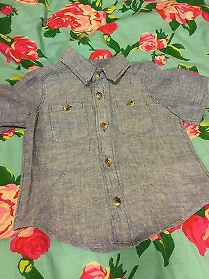 18-24mos. Baby Boy Short Sleeve Chambray Button Down, Old Navy