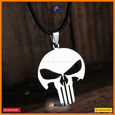 Tibet Silver Men Skull Pendant Stainless Steel Chain Necklace Men's Leather Band