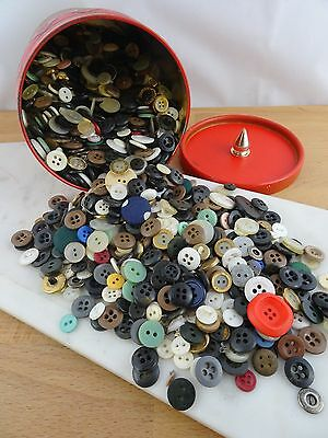 Lot of Vintage Sewing Buttons in an Old Tin 850g +