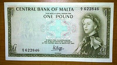 GOVERNMENT OF MALTA £1 ONE POUND BANKNOTE P29a RARE EF+ ND 1967