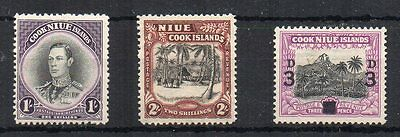 New Zealand - Niue 1938 1s, 2s and 1940 unissued surch MLH