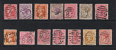 Victoria small lot of 14 stamps with nice barred numeral cancels