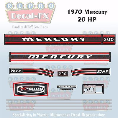 Discontinued Decal Reproductions in Stock Mercury 1972 115hp Outboard Decal Kit