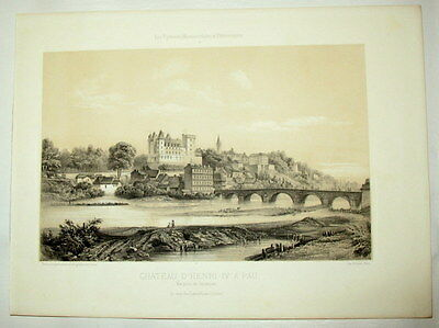 c1860 Pau, Jurancon, Pyreneen, Pyrenees - Getönte Lithographie