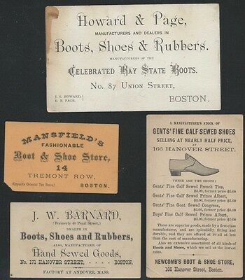 Four 19th Century Boston Shoe & Boot Business Trade Cards