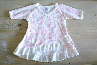 ** GAIA organic ** Sz 000 baby girl pink floral long sl kimono tunic dress! NEW