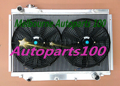 3 row Radiateur radiator and Fan for TOYOTA Landcruiser HDJ80HZJ80 FJ80 FZJ80 MT