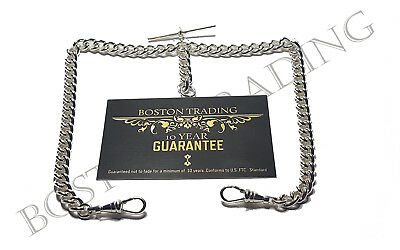 Quality Heavy Silver Plated Double Albert Pocket Watch Chain  10 Year Guarantee