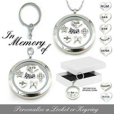 Remembrance In Memory Of Locket Keyring Necklace Silver Jewellery Funeral Charm