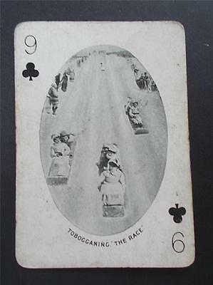 Vtg Antique Photograph Canadian Tobogganing Canada Playing Card c1905