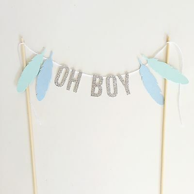 OH BOY Cake Topper With Feathers Boho  Baby Shower Cake