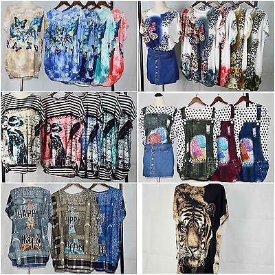 Wholesale Joblot Ladies Variety Of Prints T-Shirt Top Mix Colors In Each Style