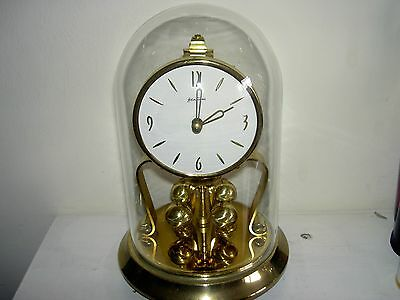 Antique Bentima 400 Day Anniversary Mechanical Brass Clock With Glass Dome