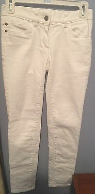 Girl's Crewcuts White Jeans Pants Size 12 Pink 99% Cotton 1% Spandex Pockets