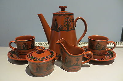 Scottie Wilson Designed Royal Worcester Coffee Set For Two