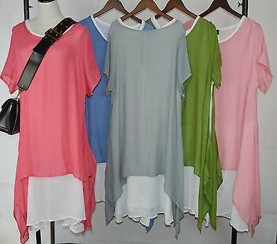 WHOLESALE Ladies Italian 2piece Quirky Lagenlook Sidesplit Tunic Long Dress 6PCS