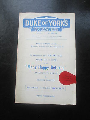 1928 Dukes Of Yorks Theatre Many Happy Returns Programme