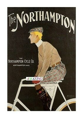 Vintage Style American Bicycle Advertising Poster: The Northampton: A4