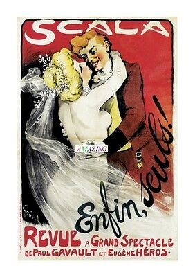Vintage French Art Nouveau Advertising Poster:enfin, Seuls! Scala Revue: A4
