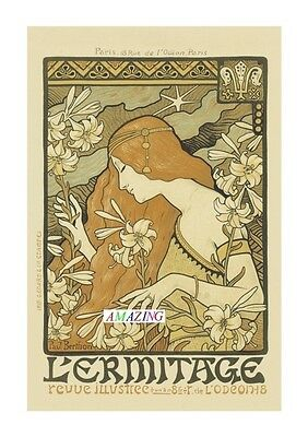 Vintage Style French Art Nouveau Advertising Poster: L'ermitage: A4