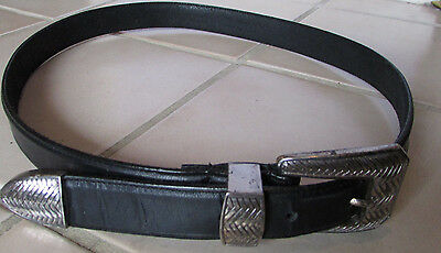 TALBOT'S Stunning Black Leather Engraved Silver Buckle & Trim Belt M VGUC