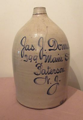 large antique 5 g 1800s handmade Jas Donnelly Patterson NJ stoneware pottery jug