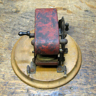 1897 Antique Small Hand Crank Generator Science Toy or Electro Therapy