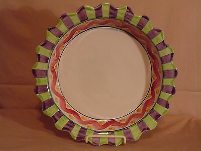 "MACKENZIE CHILDS Piccadilly 9"" Deep Dish Pie Plate 6 cup Terra Cotta"
