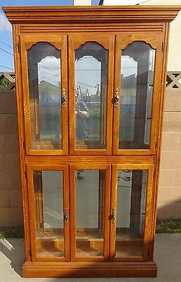 Classic 6' Large Oak Mirror Curio Cabinet Hutch China Display glass shelves